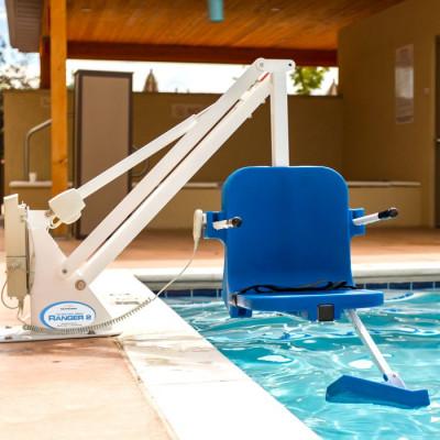 ADA Ranger 2 Pool lift, blue seat, white frame