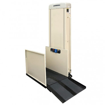 77 inch lifting height commercial wheelchair lift right tower straight through platform