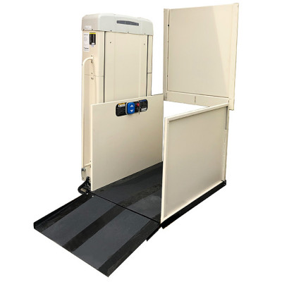 """53"""" Straight Through Freedom Easy Ride II Commercial Vertical Platform Lifts- Left Tower"""