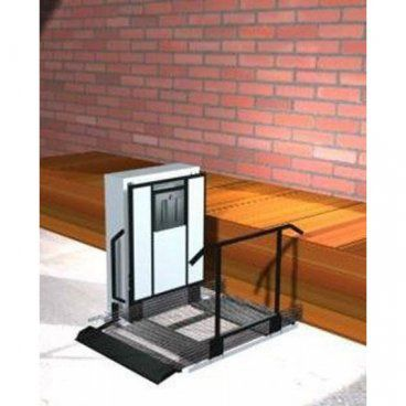 Freedom 28 inch Outdoor Wheelchair Lift for Home - Straight through platform. Left tower