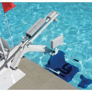 Portable pool lift aerial view in water