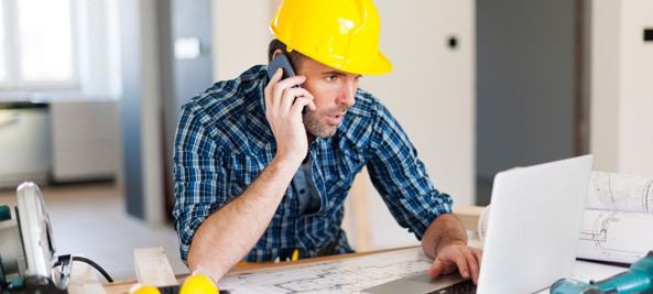 contractor in blue shirt