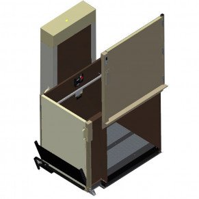 "77"" Easy Ride Commercial Vertical Platform Lifts - Adjacent Left"