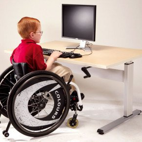 Accessible ADA table 48 inches wide with under mount hand crank