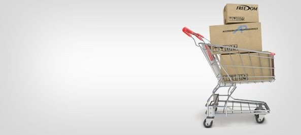 shopping cart with Accessibility Professionals boxes